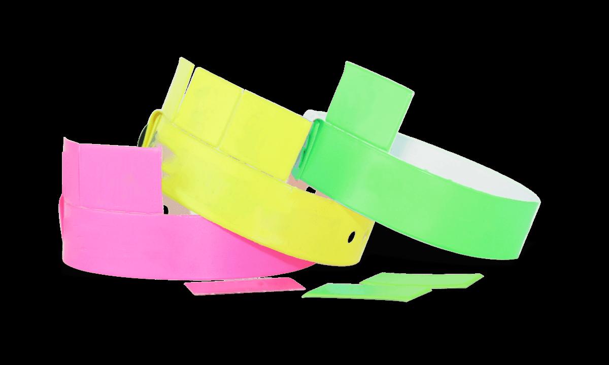 Vinyl polsbandjes met 3 afneembare tabs, 19mm zonder afdruk