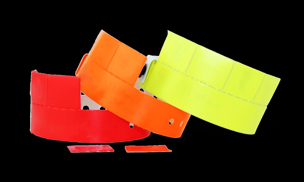 Vinyl polsbandjes met 4 afneembare tabs, 19mm zonder afdruk