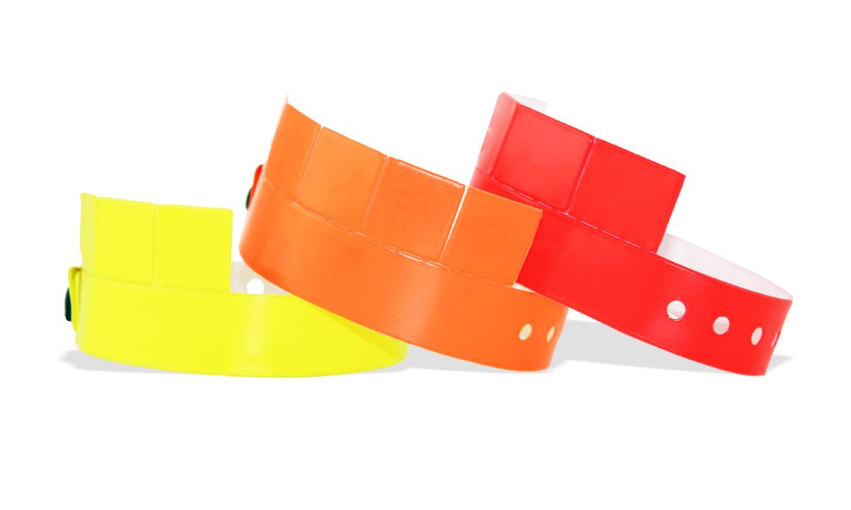 Vinyl polsbandjes met 5 afneembare tabs, 19mm, zonder afdruk
