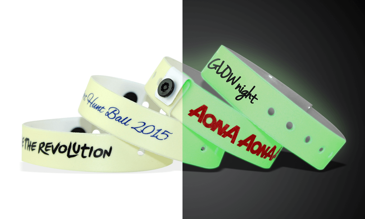 Glow in the dark vinyl polsbandjes, 19mm, met afduk