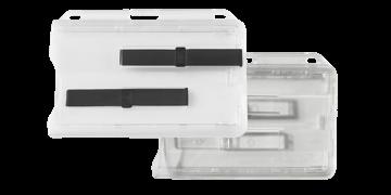 Premium horizontale stijve houder voor twee kaarten met schuiven