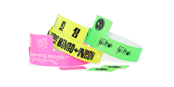 Vinyl polsbandjes met 3 afneembare tabs, 19mm, met afdruk in 1 kleur