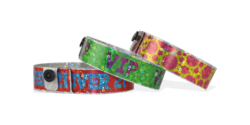 Holografische polsbandjes, 19mm, glitter metallic patroon, met digitale kleuren afdruk