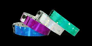 Holografische polsbandjes, 19mm, diamant metallic patroon, zonder afdruk